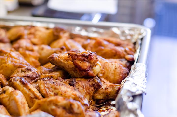 Wings in a tray