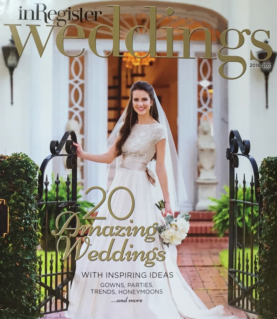 inRegister Weddings cover feating a bride wearing her wedding dress. @0 amazing weddings with inspiring ideas, gowns, parties, trends, honeymoons and more
