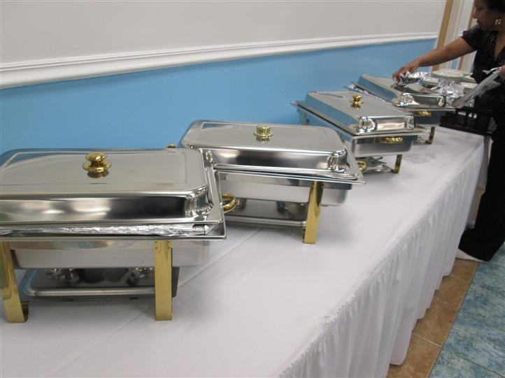 Catering trays on buffet