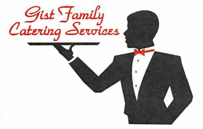 "A drawing with the message ""Gist Family Catering Services"", and a server holding a tray."