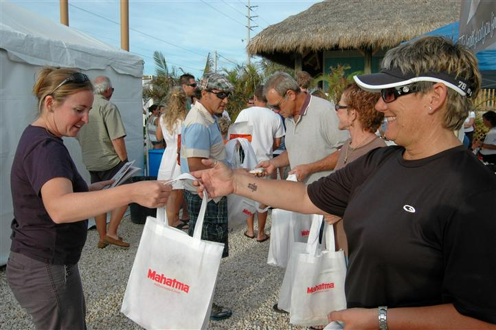 people handing out items