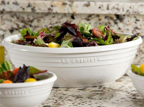Le Creuset Oval Serving Bowls with salads