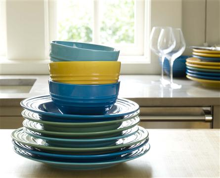 Le creuset cereal bowls stacked on counter