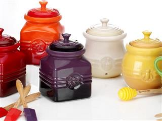 Assorted Le creuset honey pots