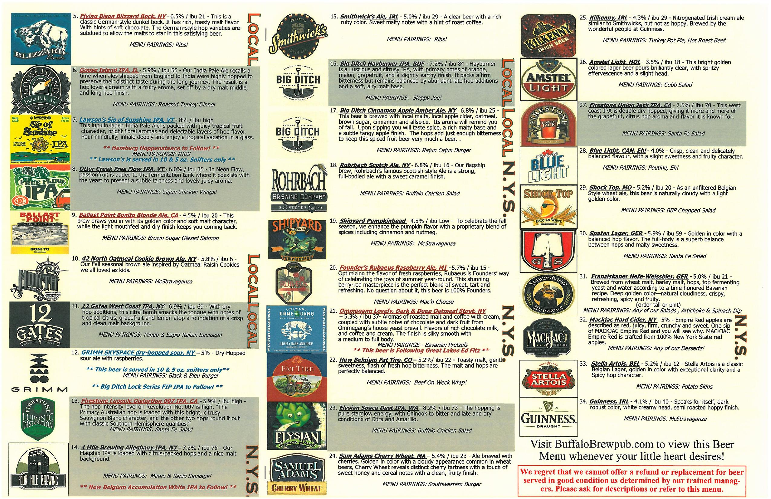 Buffalo Brew Pub Beer Menu – Beer Menu