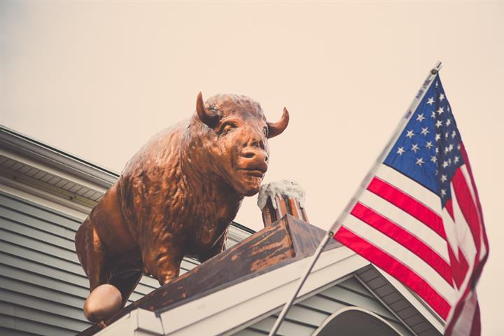 Close up shot of the bull on top of the building drinking a beer and the American Flag