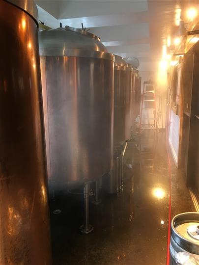 fermentors lined up in a foggy room