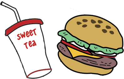 sweet tea and hamburger drawing