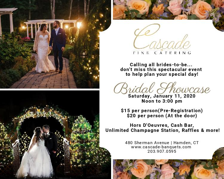 calling all brides to be, don't miss this spectacular event to help plan your special day! Bridal showcase is saturday, January 11th, 2020 from noon to 3 PM. $15 per person (pre-registration) or $20 per person (at the door). hors D'Oeuvres, cash bar, unlimited champagne station, raffles & more!
