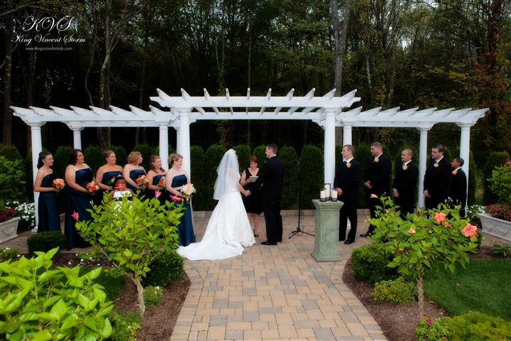 Outdoor shot of a wedding ceremony at the garden