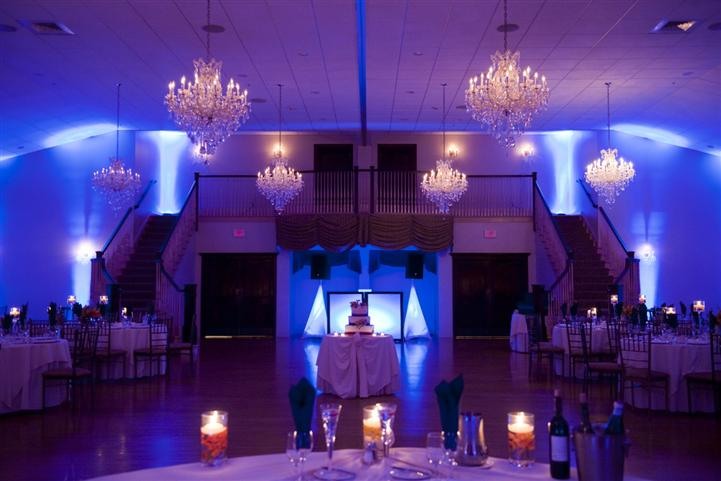 Interior shot of a reception hall with blue light