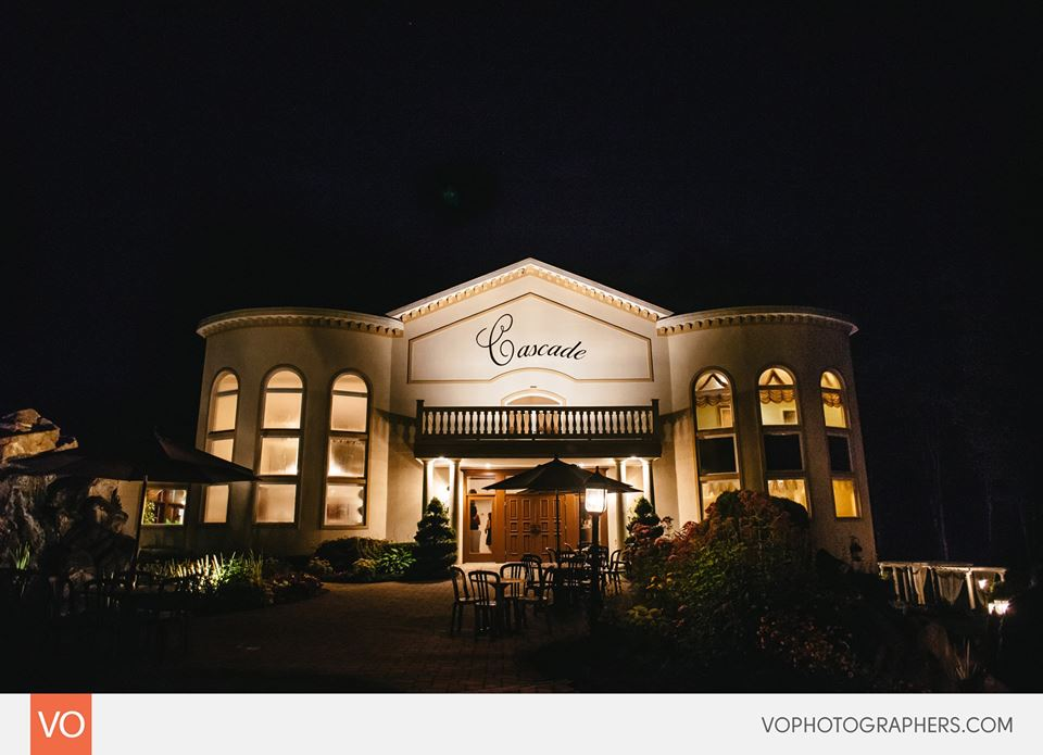 Night outdoor shot of the Cascade Fine Catering building