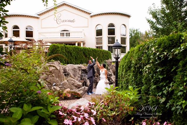 Outdoor shot of a bride and groom at the garden