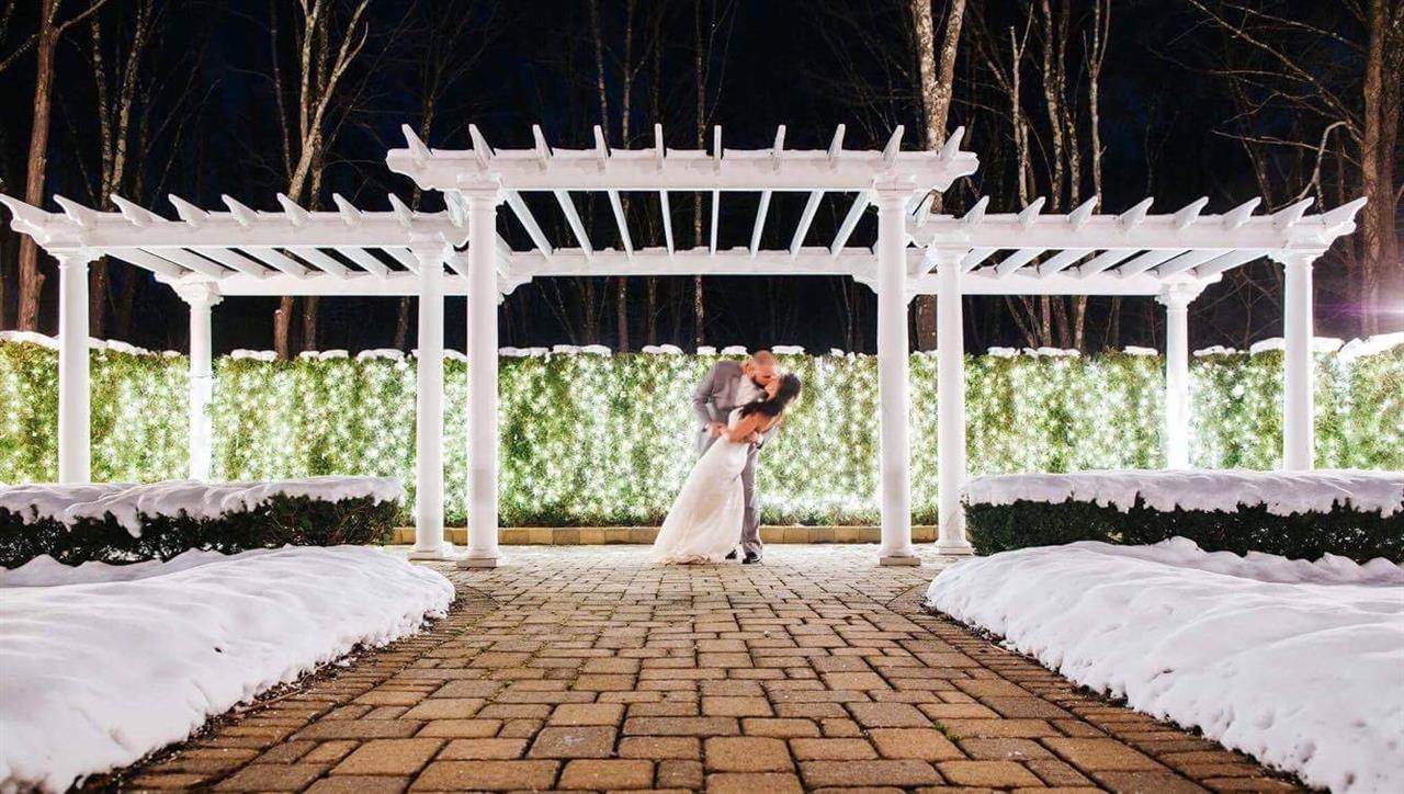 Outdoor shot of a bride and groom kissing