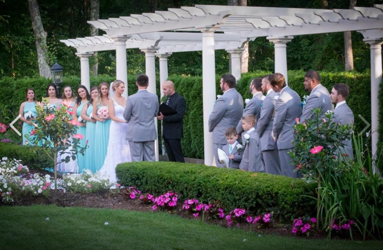 An outdoor shot of a wedding