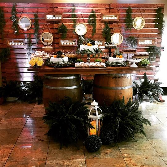 Photo of the decoration of bales used as buffets with several  trays