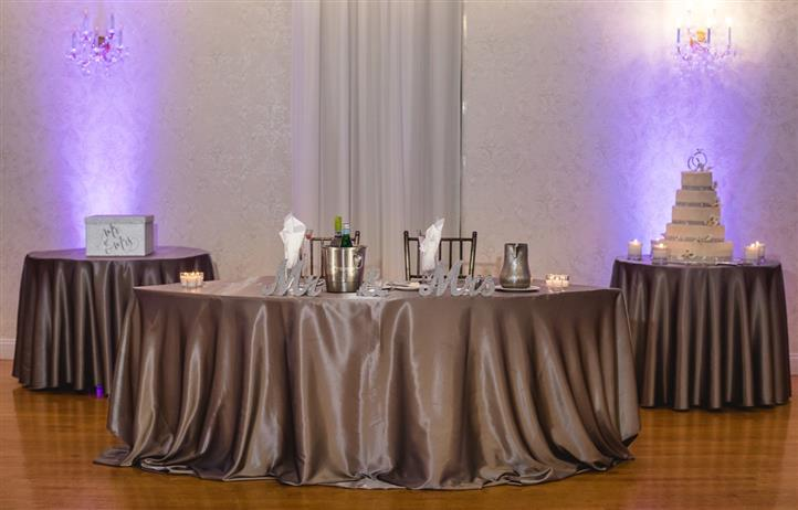 Bronze decoration of the brid's and groom's table in a wedding reception hall