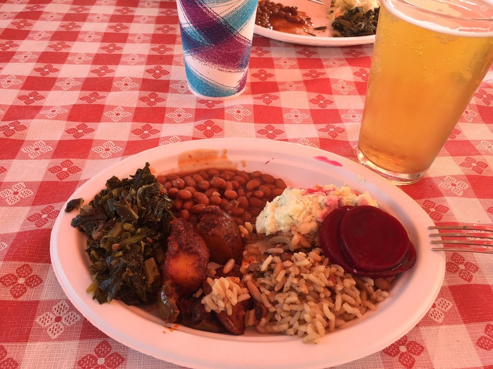 Collard greens, beans and rice with a beer