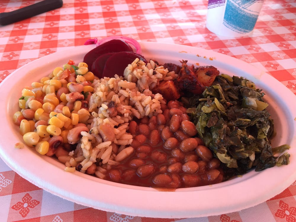 Collard greens, beans and rice