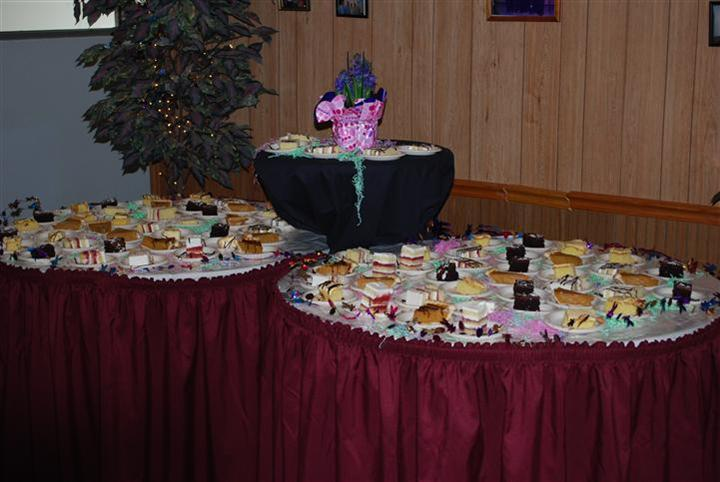 a buffet table display from far away