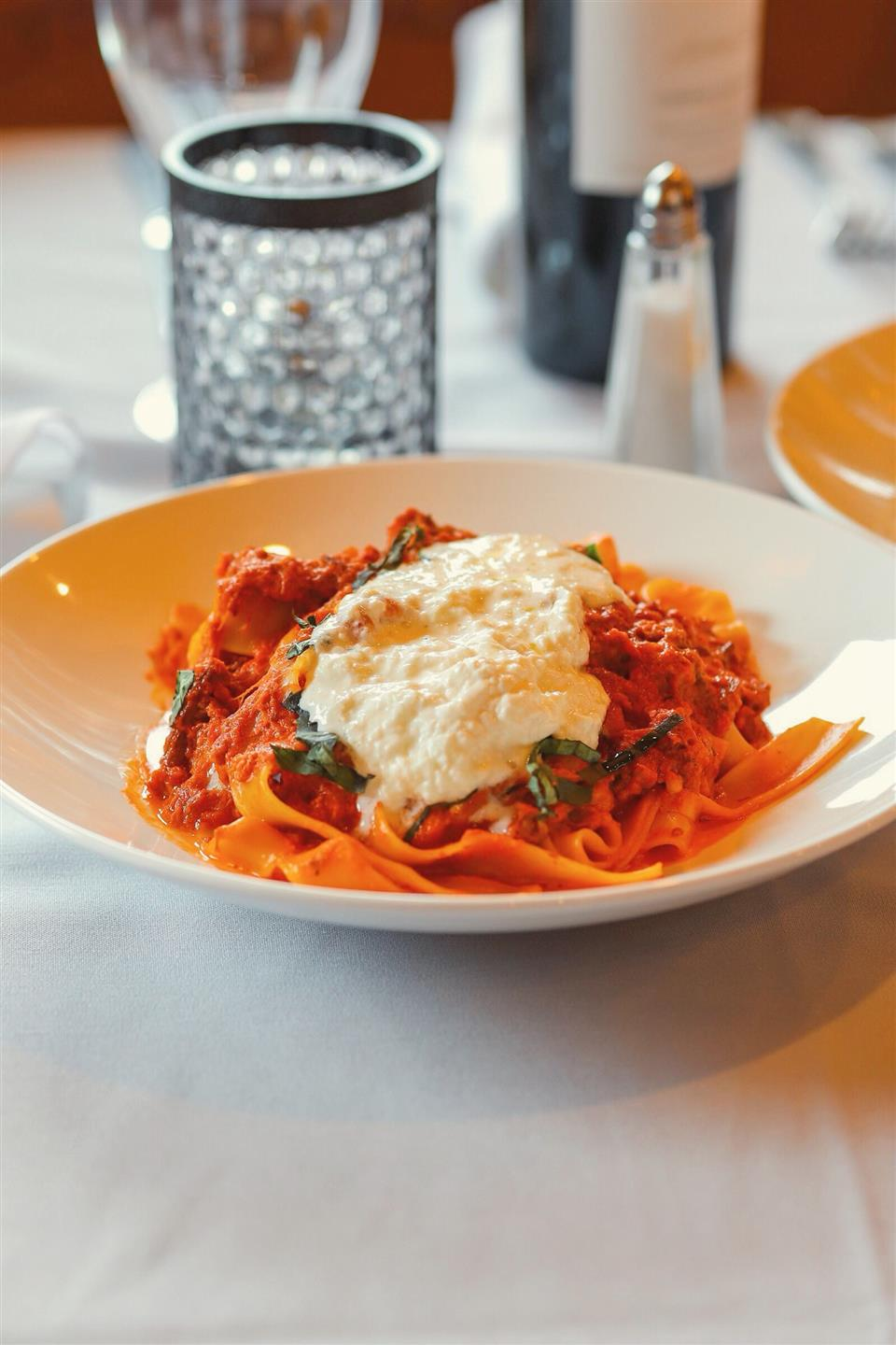 pulled short rib, veal and pork sauce and enhanced with the creamy and utterly delicious stracciatella di bufala