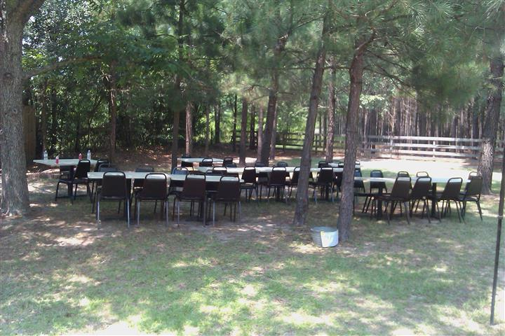 Tables and chairs set outdoors