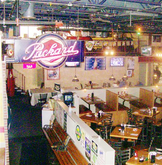 Aerial shot of bar area of Pete's Garage