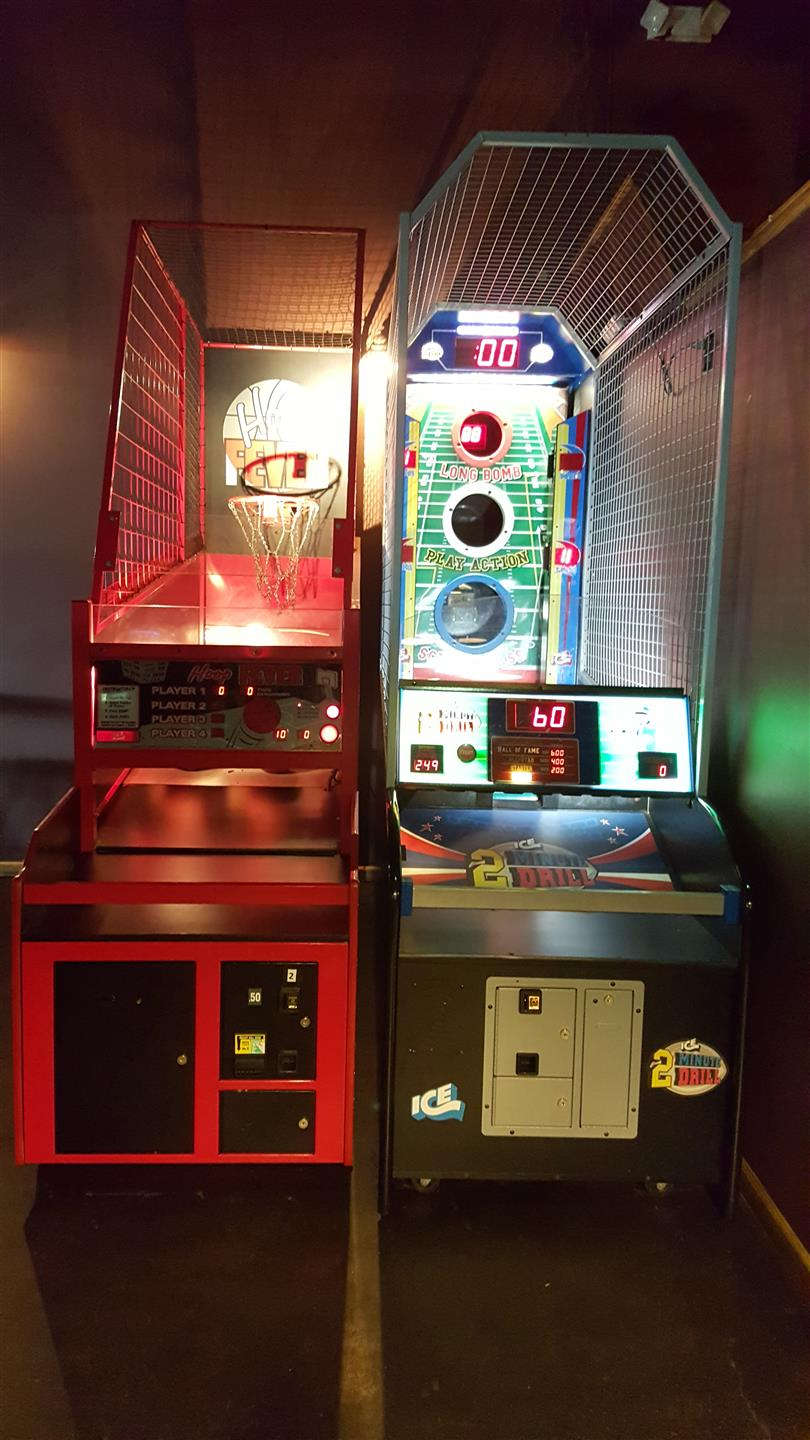 arcade games in the bar area