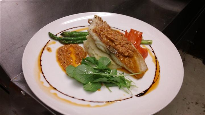 Dish with Fish and asparagus