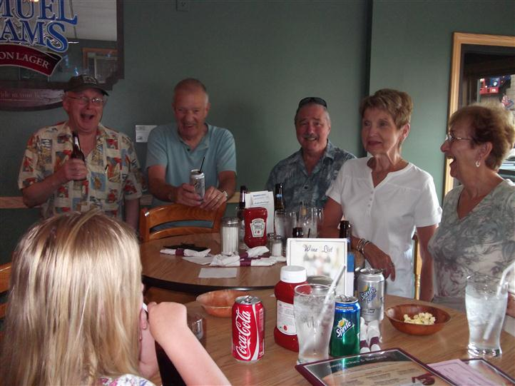 Group of people having drinks in the restaurant