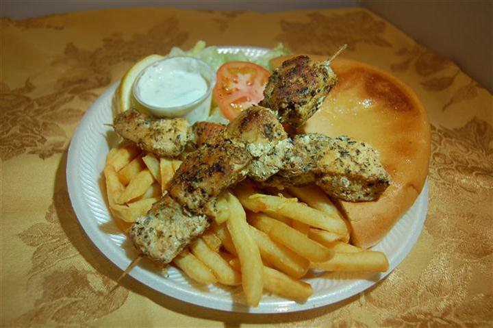 DBL Souvlaki Plate  w fries
