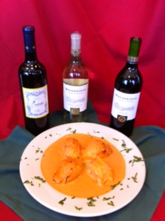 stuffed with fresh crab meat, Salmon, Spinach, Roasted Pepper, Cheese served in Blush Cream Sauce