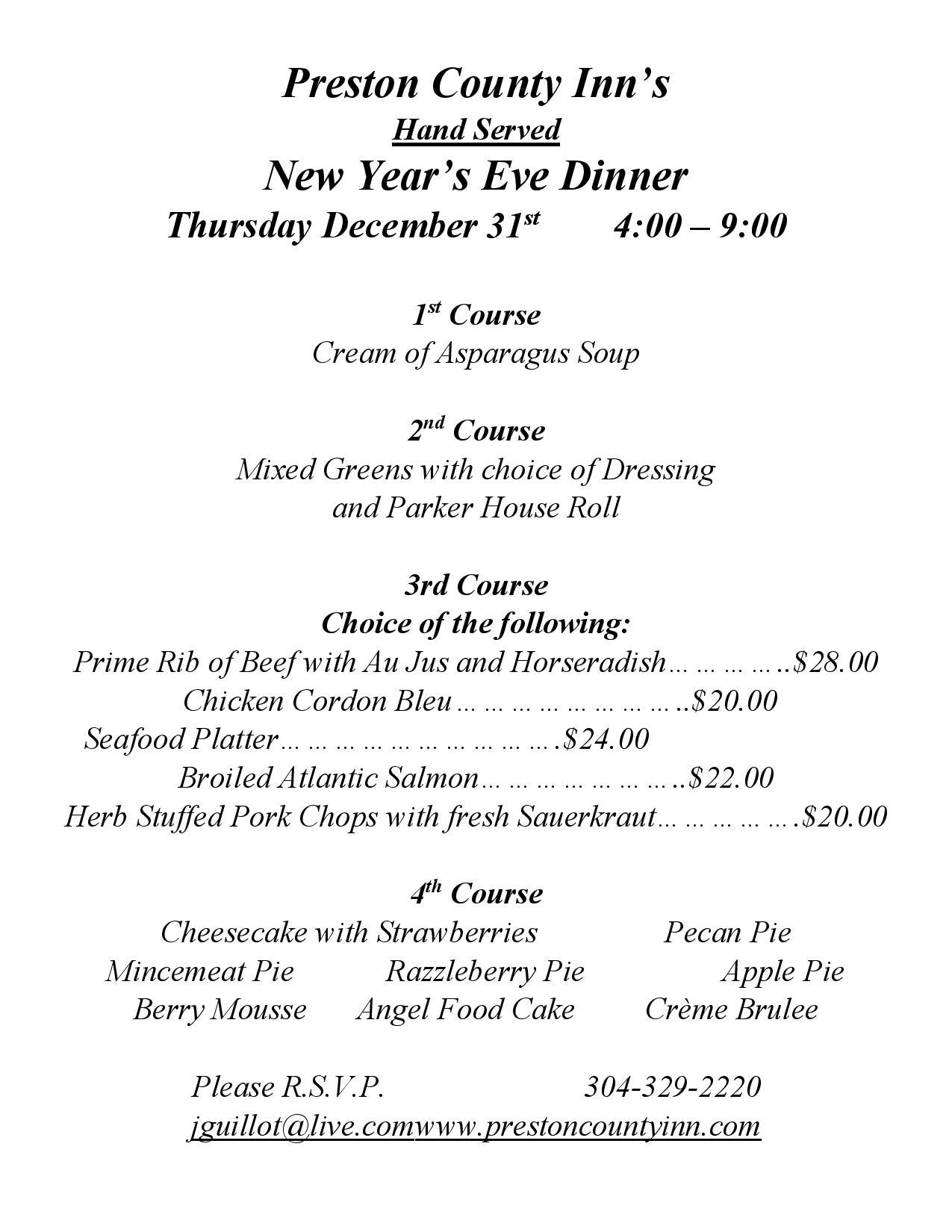 New Year's Eve dinner 2020