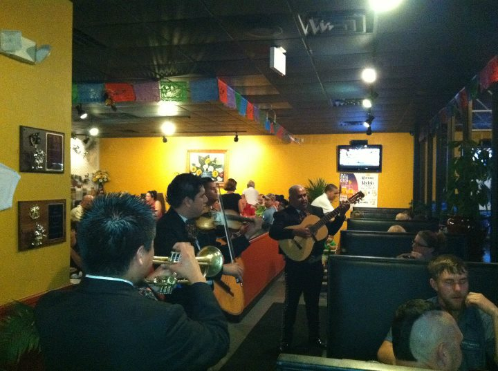 mariachi band playing inside the establishment