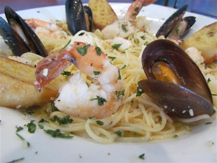 Linguini with mussels and shrimp.
