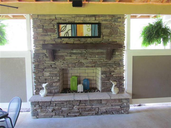 Indoor view of the fireplace.