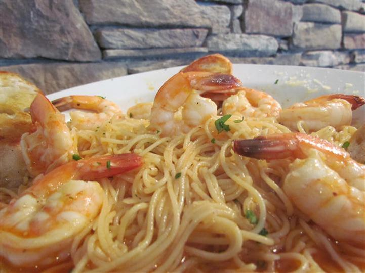Linguini with shrimp.