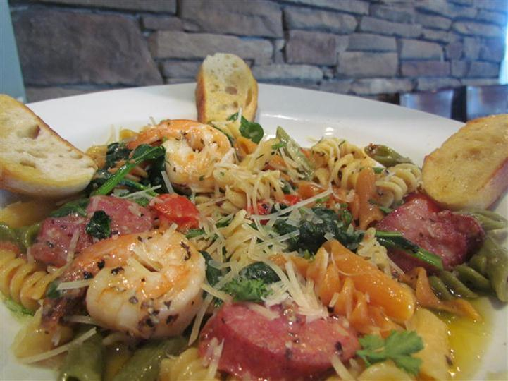 Pasta with shrimp and mixed vegetables.