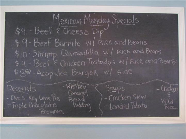 Mexican Monday Specials board.