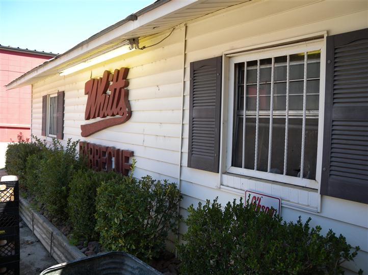 side of Whitts restaurant, with windows