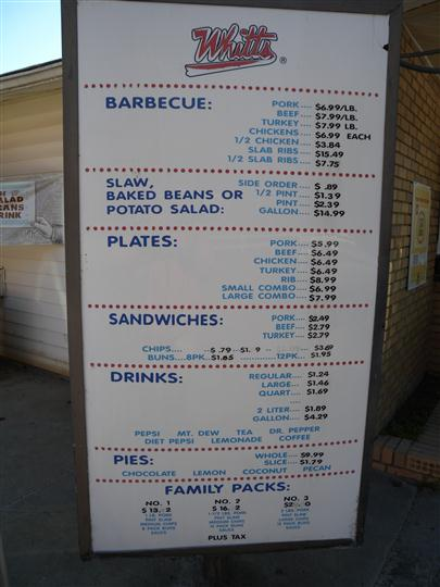 Whitts drive-through menu
