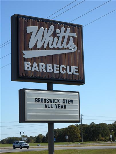 "Whitts sign, that reads, ""Brunswick stew all year"""