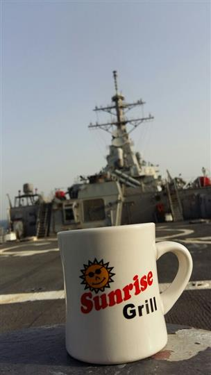 Sunrise grill mug on a aircraft carrier
