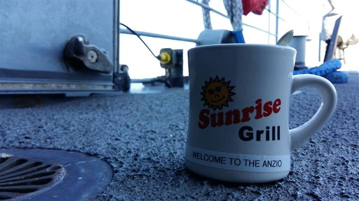 Sunrise grill mug on counter top