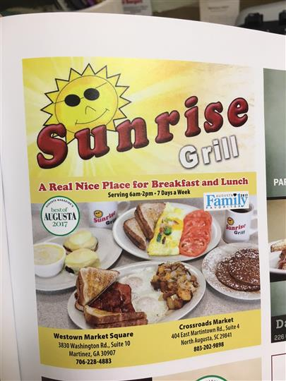 Sunrise grill promotional photo