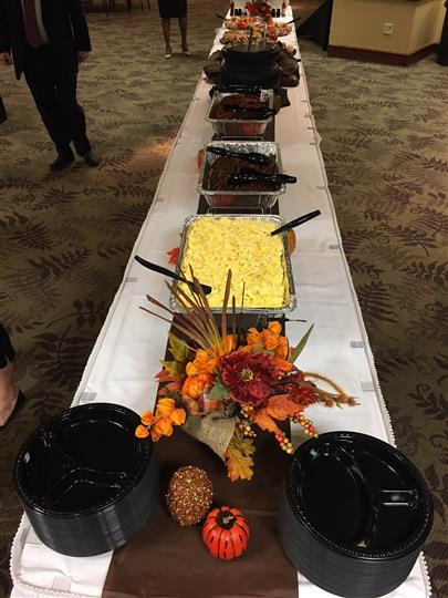 Row of foods for a catering event