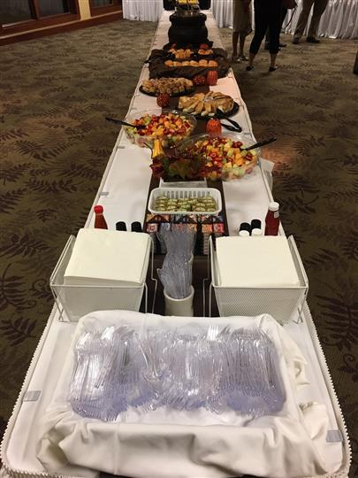 Catering table filled with foods