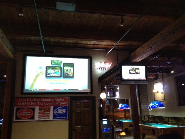 inside view of the updated tvs and pool tables