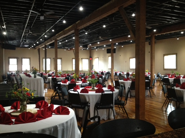 inside view of a wedding set up inside the old lumber company grill and bar