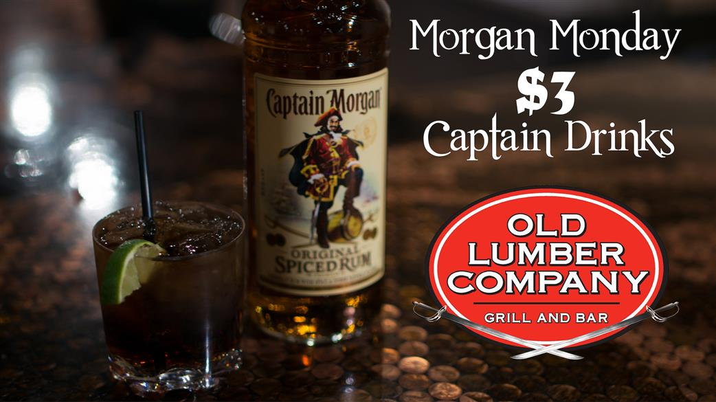 bottle of captain morgan next to a mixed drink of captain morgan and coke with a lime wedge and saying Morgan Monday $3 Captain drinks
